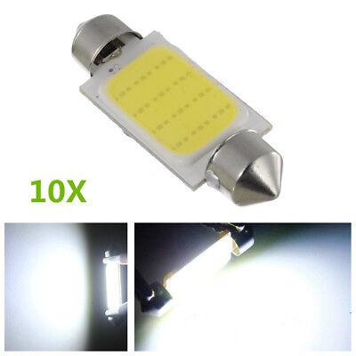 10X 6000K COB 12SMD 42mm Canbus Error Car LED Reading Lamps Warnings Light White