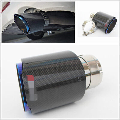 Stainless Steel + Carbon Fiber Inlet 3'' Outlet 4'' Car Exhaust Tip Muffler Pipe 4' Tip Carbon Fiber