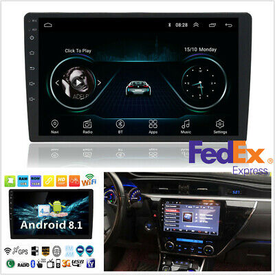 10.1'' 1DIN Android8.1 Car Stereo Radio GPS Wifi 3G 4G BT DAB MP5 Player US SHIP