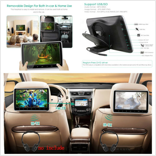 "10.1"" Car Headrest Monitor DVD Player Kit With USB/SD/HDMI Port & Remote Control"