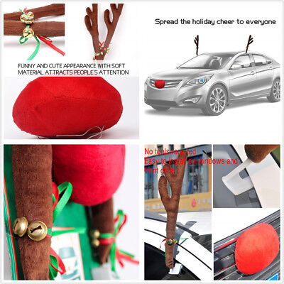 Car Christmas Decor Accessories Funny& Cute 2Pcs Reindeer Antlers+Red Nose+Bells (Christmas Car Accessories Reindeer Antlers)