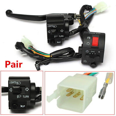"Pair 12V Motorcycle 7/8"" 22mm Handlebar Horn Turn Signal Electrical Start Switch"