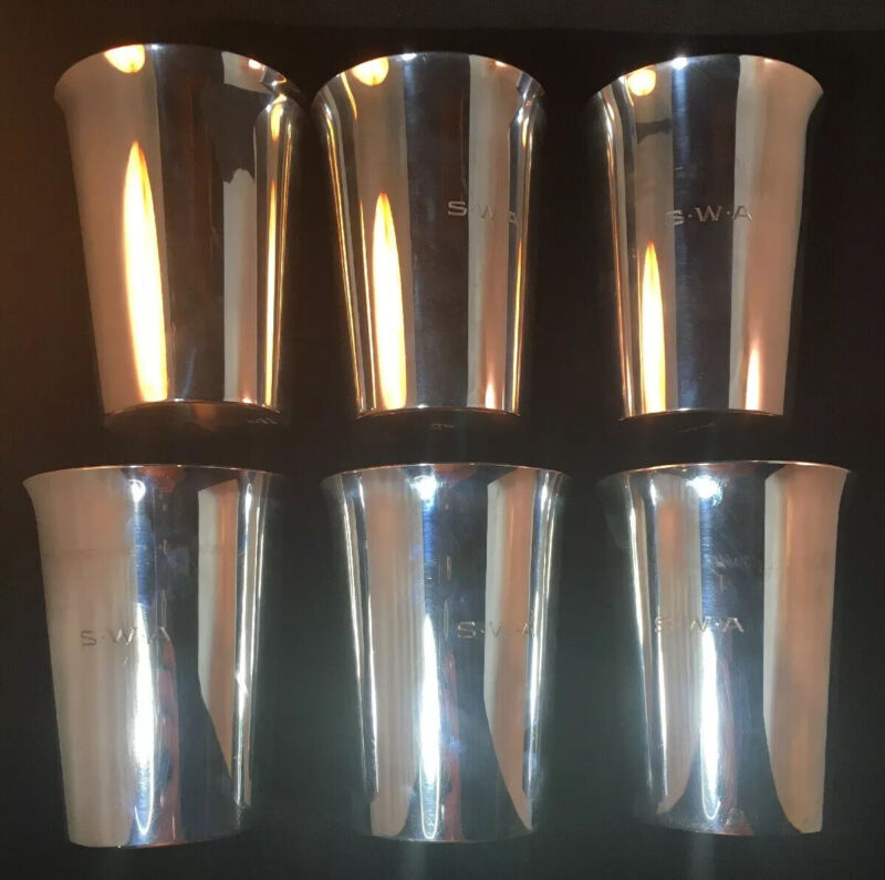 Set Of 6 Redlich & Co Large Size Sterling Silver Mint Julep Cups 31 Toz