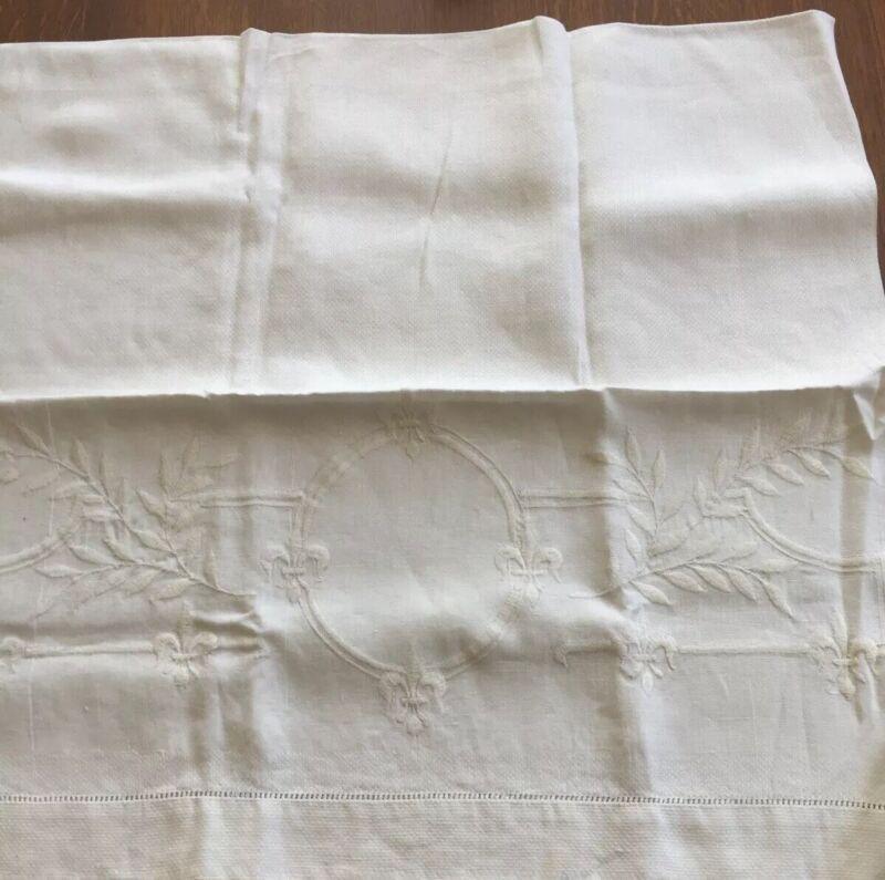 "Antique Huck Linen Butler Towel Fleu Di Lis & Leaf Design Cartouche 42"" By 22"""