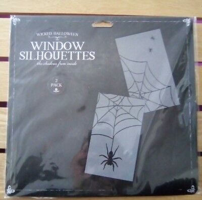 2 PK HALLOWEEN SPIDER AND SPIDER WEB WINDOW SILHOUETTES DECORATIONS PARTY  - Halloween Spider Silhouettes