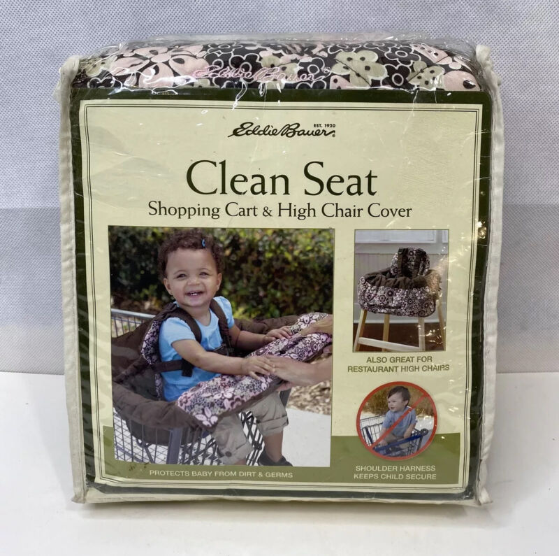 Eddie Bauer Pink and Brown Floral Clean Seat Shopping Cart and High Chair Cover