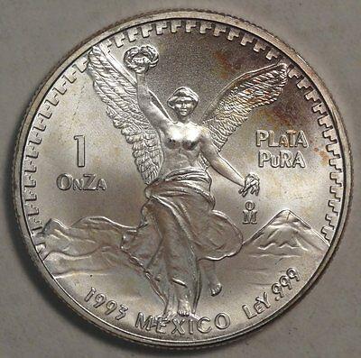 1993 Silver Onza/Libertad, 1 Oz. 999 Silver, Gem Uncirculated  1006-10