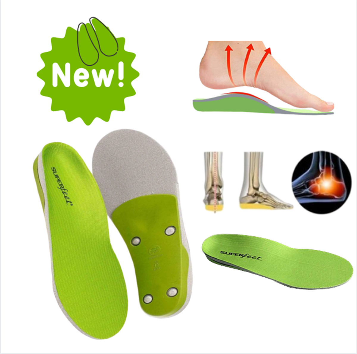 GREEN High Arch Support Orthotic Insoles for Flat Feet Shoes