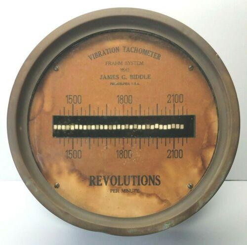 "Antique Steam Engine ~ Frahm Vibration Tachometer ~ Biddle Philadelphia 8"" Brass"