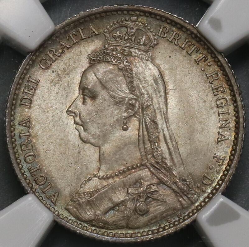 1887 NGC MS 64 Victoria 6 Pence Shield Great Britain Silver Coin (19072601C)