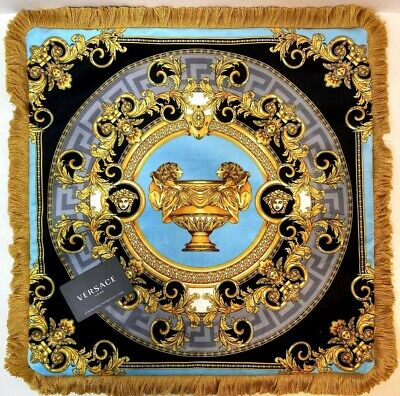 Versace Pillow Case Ultra Luxury 20x20 Inches Silk VelvetBlues Gold Multicolor