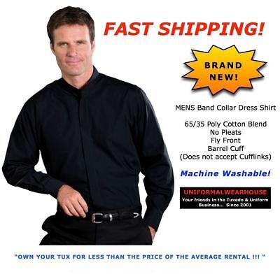 Mens BLACK BAND COLLAR Mandarin Fly Front Dress Shirt New ALL SIZES
