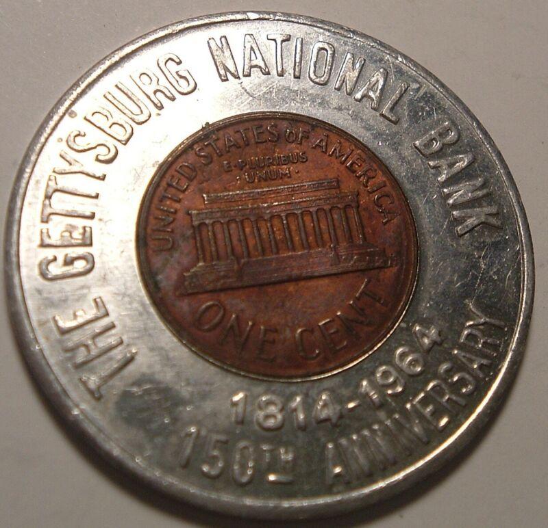 Vintage Encased penny / Good Luck Piece Gettysburg National Bank 1964