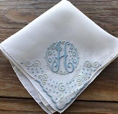 Vintage UNUSED Linen Hankie Madeira Hand Embroidered Blue Monogram H Wedding