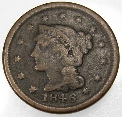 1846 U.S. Large Cent 1c coin
