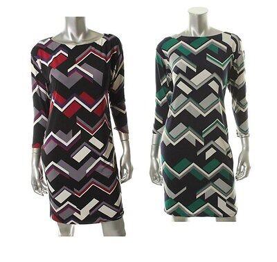 Ralph Lauren Multi Matte Jersey 3/4 Sleeves Dress - New (Ralph Lauren Kleider Für Frauen)