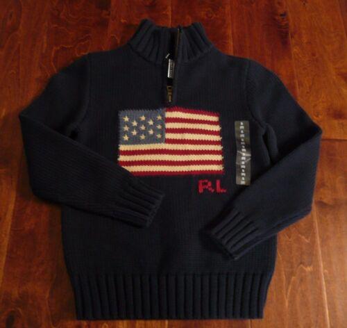 NWT $90 POLO RALPH LAUREN USA FLAG SWEATER SZ 3/3T