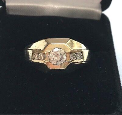 14k Mens Diamond Rings - Mens 14k yellow Gold and Diamond Hexagonal Shaped Ring