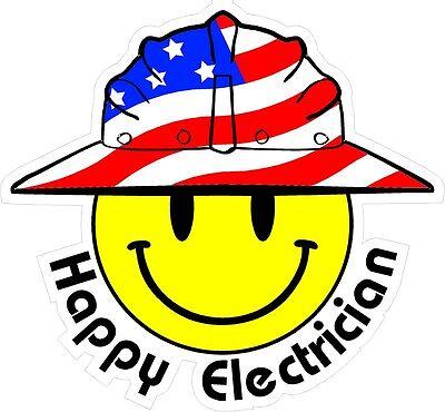 3 - Happy Electrician Smiley Usa Hardhat Oilfield Helmet Toolbox Sticker H838