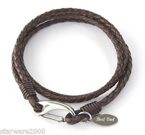 MENS LEATHER WRAP BRACELET ENGRAVED / PERSONALISED -FREE GIFT BOX