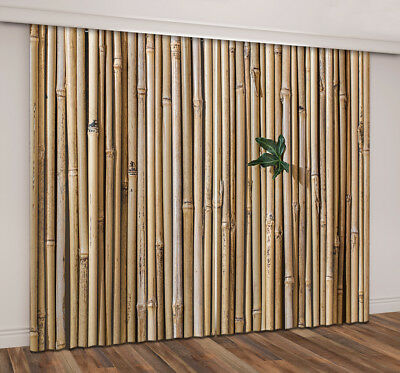 3D Leaf On Bamboo Wall Blockout Home Decor Fabric Window Curtain 2 Panels Drapes ()