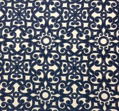 Ballard Designs Brindisi Blue Embroidered Scroll Designer Fabric By Yard 54 W