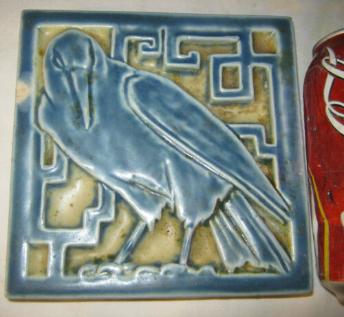 ANTIQUE ROOKWOOD AMERICAN ART POTTERY ROOK RAVEN LATTICE CROW TILE BIRD TRIVET