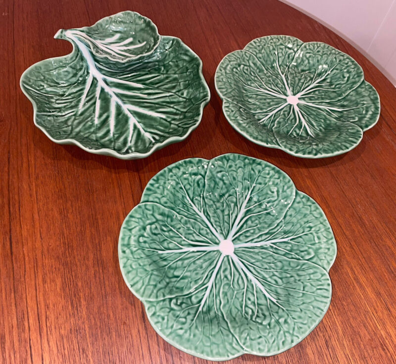 Bordallo Pinheiro Portugal Green Cabbage Leaf Chip & Dip Serving Dish And Plates