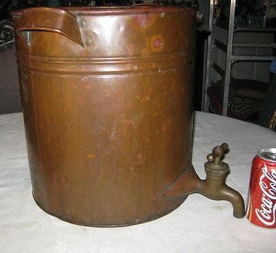 ANTIQUE LG COPPER POT w/ SPIGOT WHISKY STILL BEER WINE FOOD COOKER PAN HOLDER
