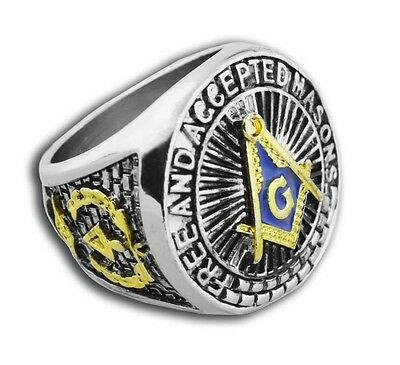 (Masonic rings ebay Blue Lodge Duo-Tone Gold Silver Band. Free & Accepted Masons)