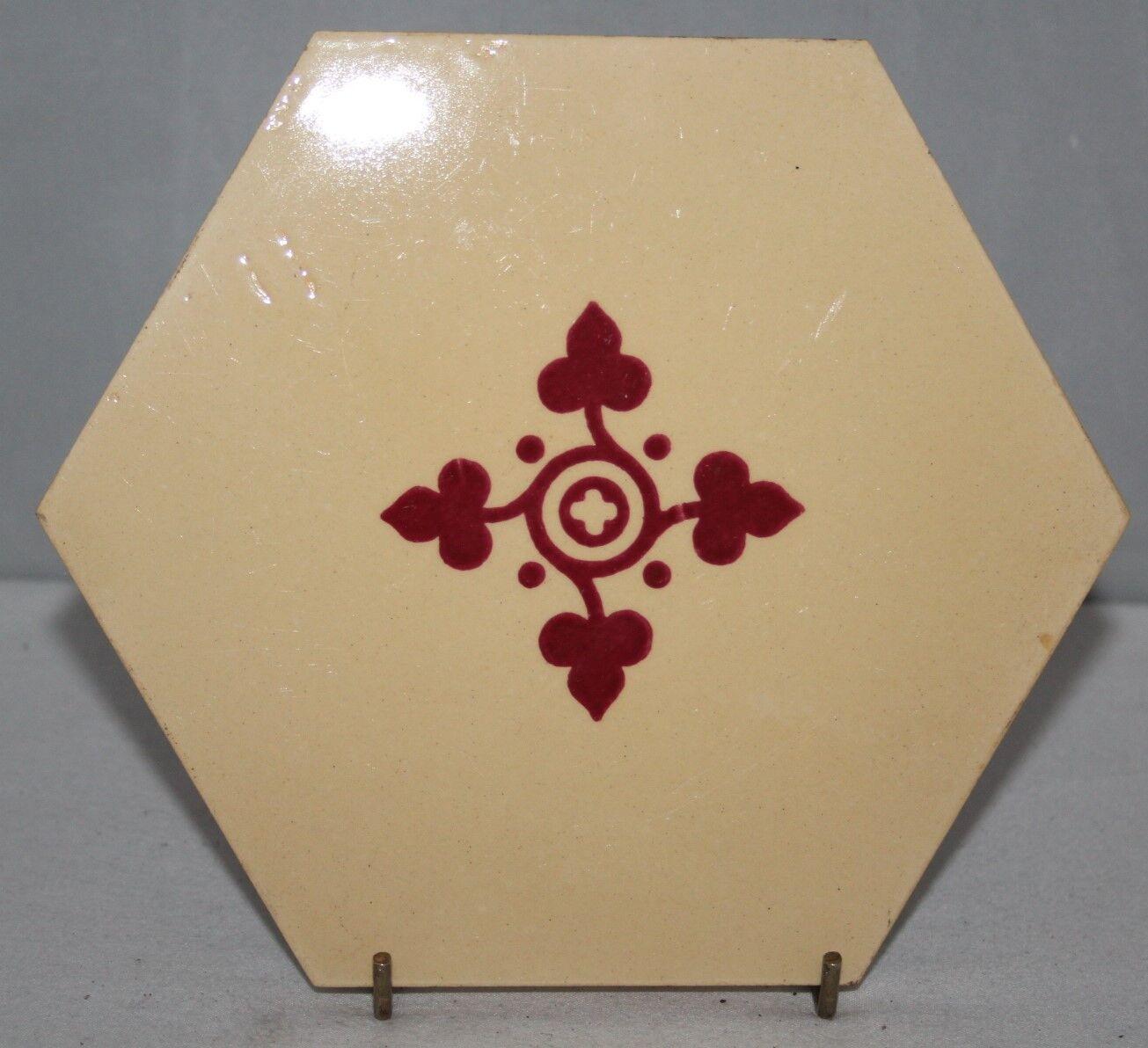 """c1868 Antique Hexagonal 6 1//2/"""" Tile Minton Hollins"""