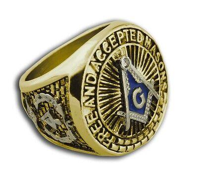 (Masonic rings ebay Blue Lodge Duo-Tone Silver Gold Band. Free & Accepted Masons)