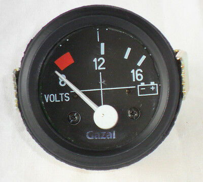 "52MM (2"") BLACK DIAL GAUGE CAR UNIVERSAL 8-16 VOLT METER CLOCK 12V"