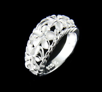 (925 STERLING SILVER 5 HAWAIIAN PLUMERIA FLOWER RING CURVE STYLE)