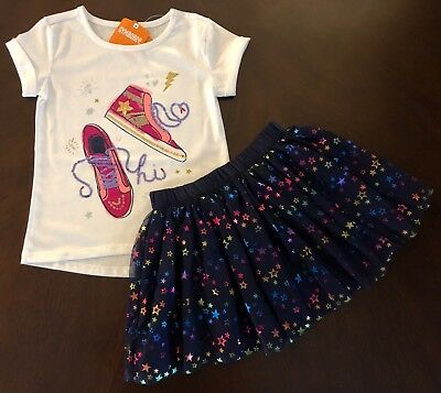 NWT Gymboree Girl Cosmic Club  White Sneaker Tee & Galaxy Skirt Outfit 5 6 7 8  (White Skirt Outfit)