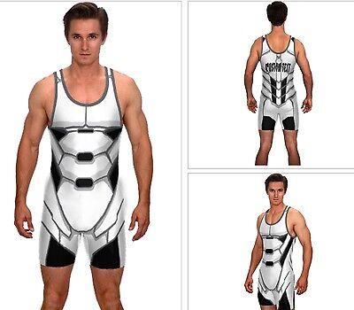 (Superhero singlet with custom text, wrestling singlet, powerlifting singlet)