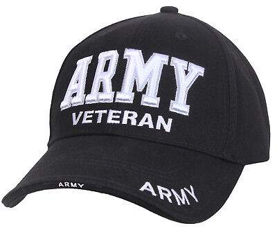 US Army Veteran Ballcap Baseball Cap Military Black Hat Rothco 3951