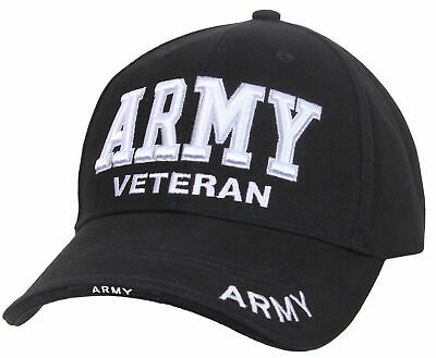 US Army Veteran Ballcap Baseball Cap Military Black Hat Low Profile Rothco 3951