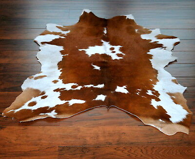 Brown and White Original Calf Hide Rug size approx 3x3ft
