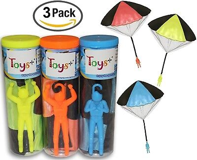 "3Pack Tangle Free Throwing Toy Parachute Man with Large 20"" Parachutes! 4 Colors"