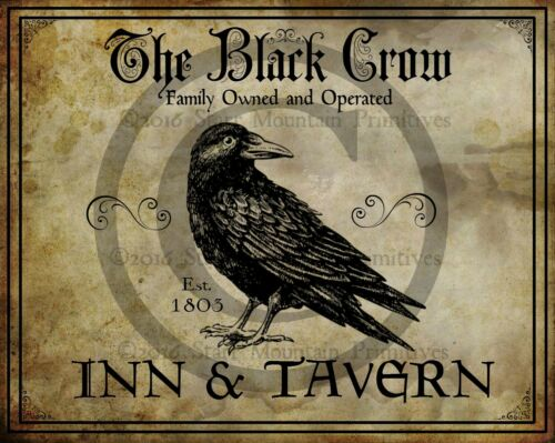 Primitive Colonial The Black Crow Inn Tavern Sign Laser Print 8x10