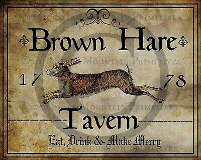 Primitive Colonial Folk Art Brown Rabbit Hare Tavern Sign 1778 Print 8x10