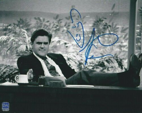 "JAY LENO AUTOGRAPHED 8X10 B&W PHOTO ""THE TONIGHT SHOW"" / COMEDIAN W/COA"