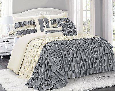 @homechoice 7 Piece BRISE Double Color Ruffled Comforter Set-Queen Grey/Ivory