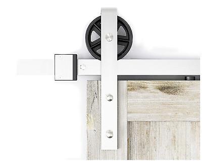 DIYHD Brushed Nickel Industrial Spoke Wheel Steel Sliding Barn Door Hardware Kit ()