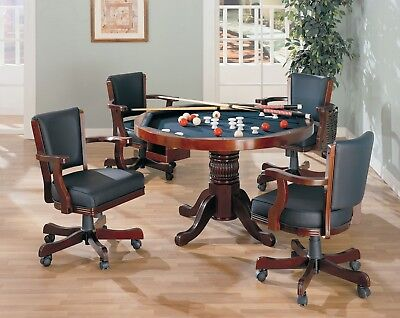 CHERRY 3 in 1 GAME POKER CARD BUMPER POOL DINING TABLE w/ 4 SWIVEL CHAIRS SET