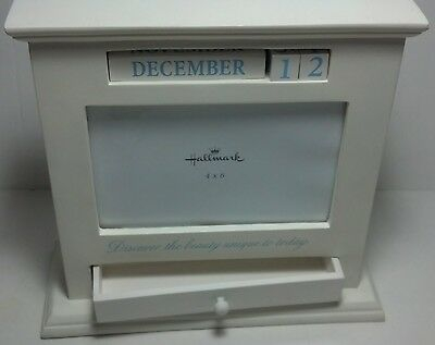 "Hallmark 4 x 6 photo frame / Perpetual Calendar w/ storage drawer 8"" x 8"""