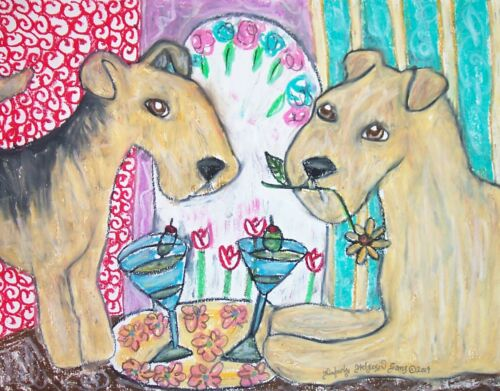 LAKELAND TERRIER Drinking a Martini Dog Vintage Art Giclee Print 8 x 10 Signed