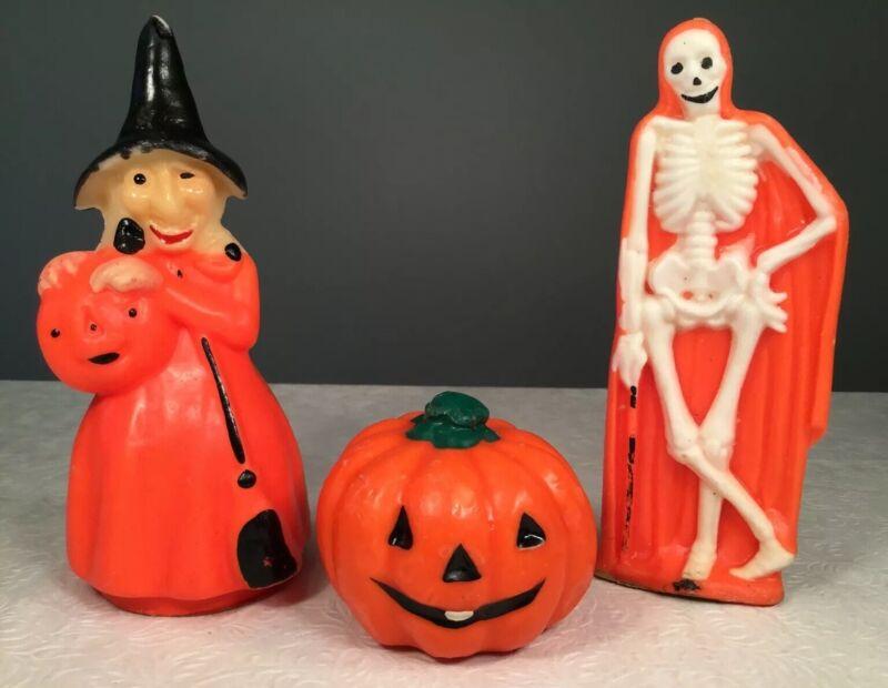 🔴 Vintage Halloween Candle Lot Gurley Skeleton Witch Pumpkin
