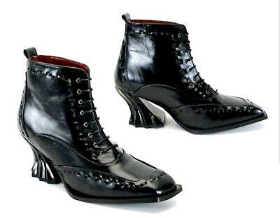 Vtg NeW John FLUEVOG Roccoco Heel Victorian Gothic Shoes Steampunk Dame Agnes 7